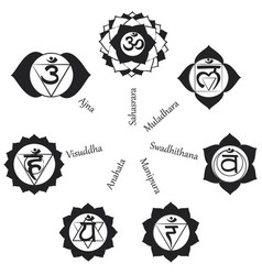 chakras icons concept of chakras used in hinduis vector image vector image