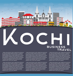 kochi skyline with color buildings blue sky and vector image vector image