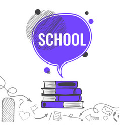 school background with violet speech bubble vector image