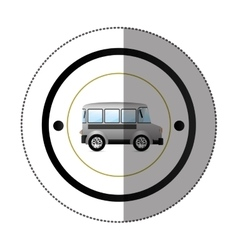 sticker with circular shape with colorful mini bus vector image vector image