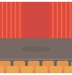 Theater stage with curtains seats and spotlight vector image