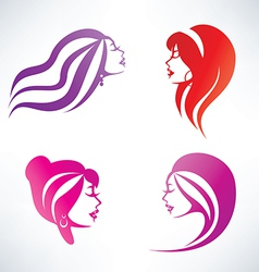 women hairstyle isolated symbols collection vector image