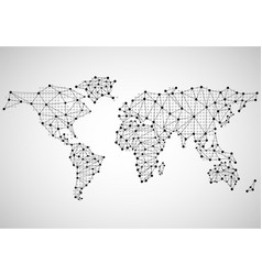 abstract world map of dots and line vector image