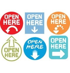 Open Here Sign Icon Set vector image vector image