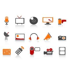 simple media tools icon set vector image vector image