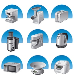 small kitchen appliances icon set vector image vector image