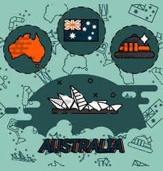 australia flat concept icons vector image vector image