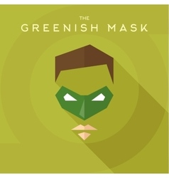 Greenish mask superhero into flat style vector