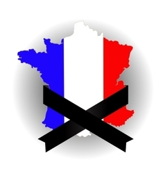 Map of France and Black Ribbon vector image