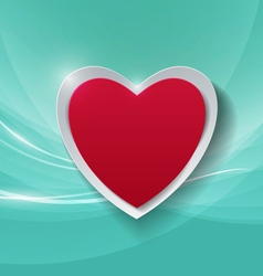 Paper Heart on Abstract Turquoise Background vector image