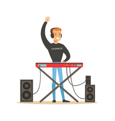 young dj playing some music vector image
