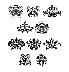 Damask black flowers set with buds vector image vector image