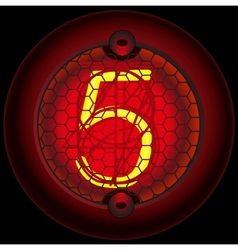 Digit 5 five Nixie tube indicator vector image vector image