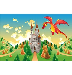 Panorama with medieval castle and dragon vector image vector image
