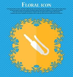 plug mini jack Floral flat design on a blue vector image