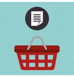red basket and document isolated icon design vector image