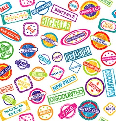 Seamless pattern with stamps with discount and vector image
