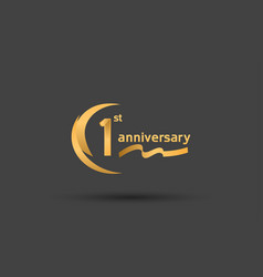 1 year anniversary logotype with double swoosh vector
