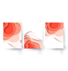 abstract coral color paper cut background vector image