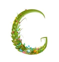 Alphabet letter G elegant flower blooming vector