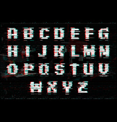 Alphabet with glitch and noise effect perfect vector