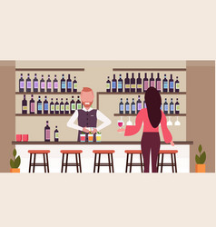 barman in uniform pouring drink in glasses vector image