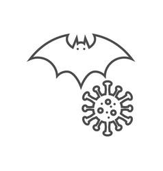 Bat carrier coronavirus thin line icon vector