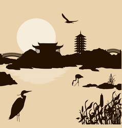 beautiful asian landscape near water vector image