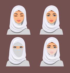 Beautiful muslim arab woman icons set female vector