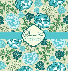 blue floral invitation card with place for text vector image