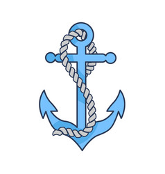 Blue heavy anchor with rope isolated vector