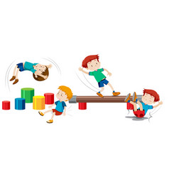 Boys playing on playground equipment vector