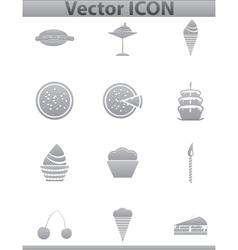 Brown cake icons set Cup and cafe icon vector