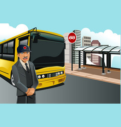 Bus driver vector