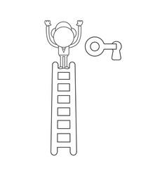 Businessman character on top of ladder and unlock vector