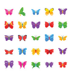 Butterfly famous species flat icons vector
