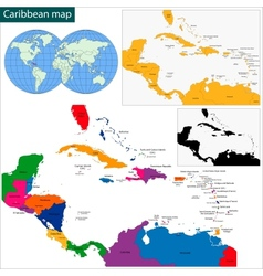 Caribbean map vector