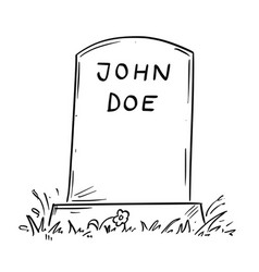 Cartoon drawing of unknown john doe tombstone vector