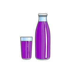 Cartoon glass bottle of purple fruit juice vector