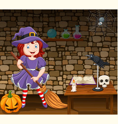 cartoon little witch holding a broomstick vector image