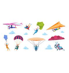 cartoon skydivers paraglider skydivers flat vector image