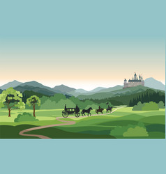 Castle carriage knight mountains landscape rural vector