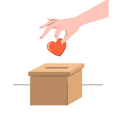 charity donation concept with heart and carton box vector image