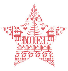 Christmas pattern in star shape with noel word vector
