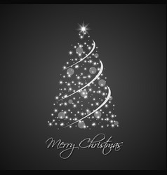 christmas tree from stars with abstract chain vector image