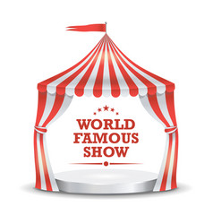 circus tent red and white stripes cartoon vector image