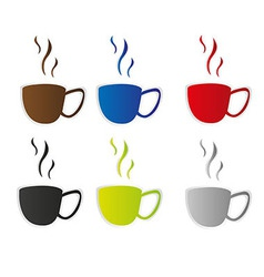 Coffee cup stickers vector