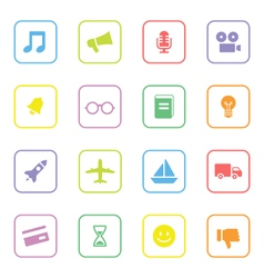 Colorful web icon set 5 with rounded rectangle vector