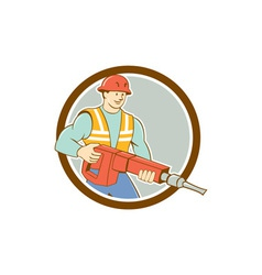 Construction Worker Jackhammer Circle Cartoon vector image