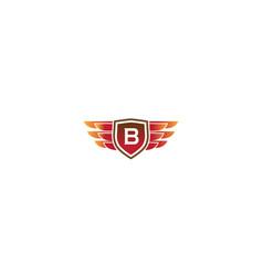 Creative shield wings letter b symbol logo vector